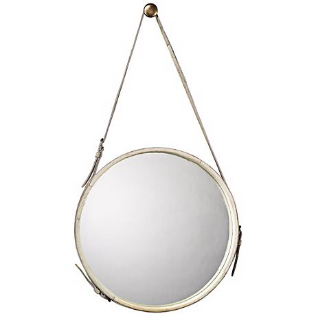 "Jamie Young White Leather Strap 29"" High Round Wall Mirror"