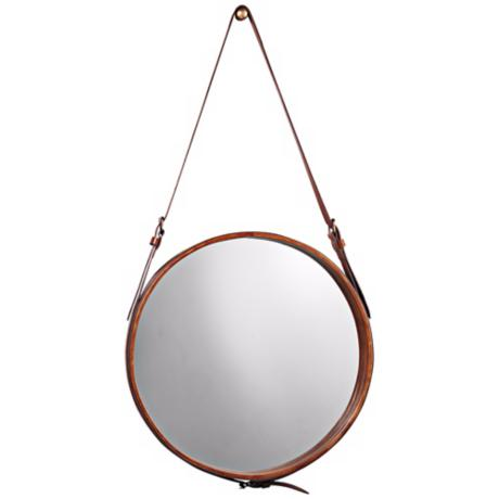 "Jamie Young Leather Strap 19"" High Round Wall Mirror"
