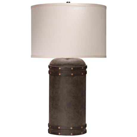 Jamie Young Small Barrel Vintage Leather and Wood Table Lamp