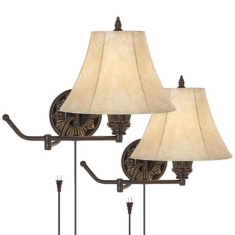 Set of 2 Bronze Plug-In Swing Arm Wall Lamps