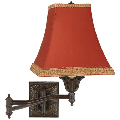 Rust Fabric Shade Bronze Plug-In Swing Arm Wall Lamp