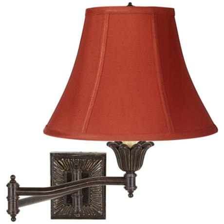 Geneva Cinnabar Bell Shade Plug-In Swing Arm Wall Lamp