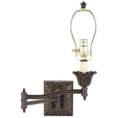 Victorian Bronze Plug-In Style Swing Arm Wall Lamp Base