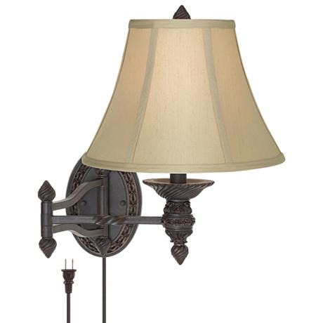 godia bronze oval plug in swing arm wall lamp u3791. Black Bedroom Furniture Sets. Home Design Ideas