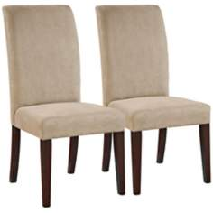 Moore Set of 2 Parsons Dark Beige Microfiber Dining Chairs