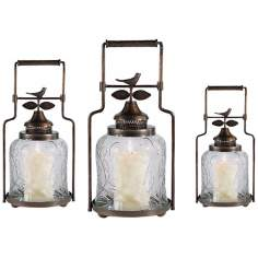 Set of 3 Clear Bird Nested Lanterns