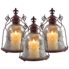 Set of 3 Vintage Style Fleur-de-Lis Candle Lanterns