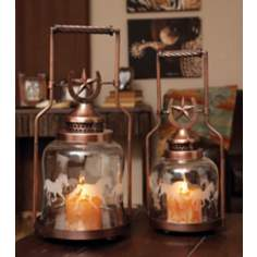 Set of 2 Horse Shoe & Galloping Horse Lantern