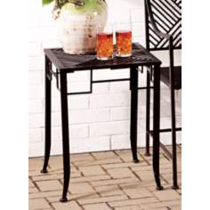 Black Metal Pedestal Side Table