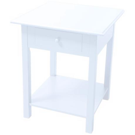 White Single-Drawer Side Table