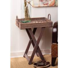 Hapao Rattan and Wood Adjustable Side Table
