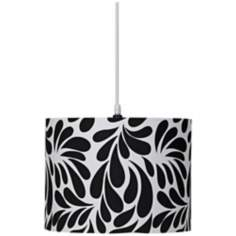 Pop Art Leaf Print Teardrop Drum Pendant Chandelier