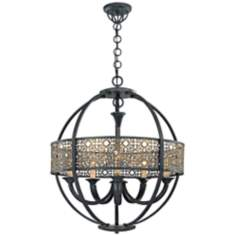"Aresenal 28"" Wide Obsidian and Bronze Chandelier"