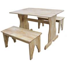 3 Piece Set Natural Finish Kids Table and Benches