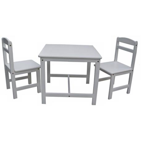 3 Piece Set Linen White Kids Table and Chairs