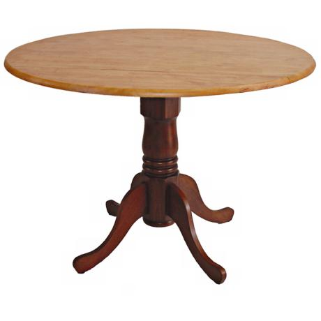 Cinnamon and Espresso Finish Round Drop Leaf Pedestal Table