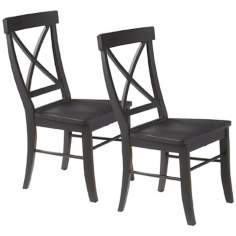 Set of 2 Black Cherry Finish X Back Dining Chairs