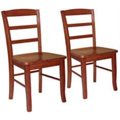 Set of 2 Madrid Cottage Oak Ladderback Dining Chairs