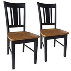 Set of 2 San Remo Black and Cherry Wood Dining Chairs