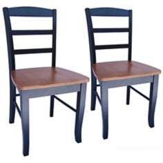Set of 2 Madrid Black and Cherry Ladderback Dining Chairs