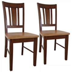 Set of 2 San Remo Cinnamon Espresso Wood Dining Chairs