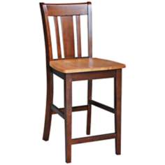 "Cinnamon and Espresso Finish 24"" High San Remo Counter Stool"