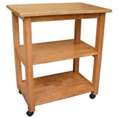 Medium Oak Finish Microwave Cart