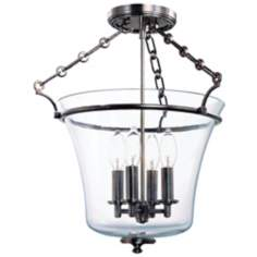 Hudson Valley Eaton Historic Nickel Semi-Flush Ceiling Light