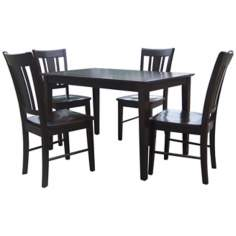Set of 5 Black Onyx Gathering Table with Slatback Chairs