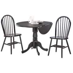 Charcoal Dual Drop Leaf Table Dining Set