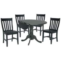 Moss Finish Dual Drop Leaf Table and Chairs Dining Set