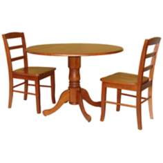 3-Piece Warm Cherry Finish Dual Drop Leaf Table Dining Set