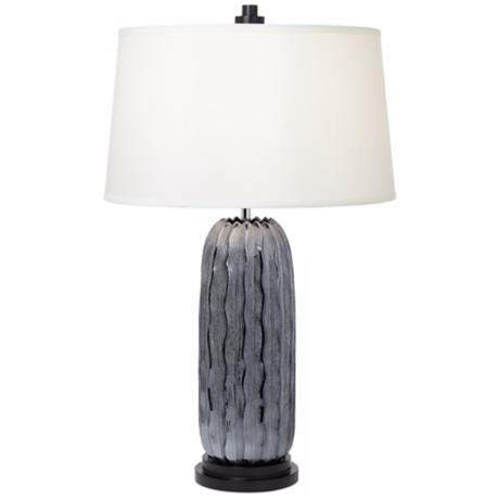 Possini Euro Design Ribbed Gray Ceramic Table Lamp
