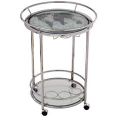 World Map Chrome and Glass Serving Cart on Wheels