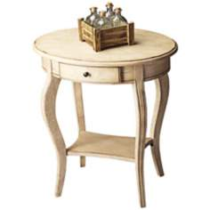 Paraffin Oval Antique White Accent Table