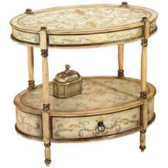 Tuscan Cream Hand Painted Oval Accent Table
