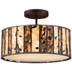 Semi-Flush Earth Tone Art Glass Tiffany Style Ceiling Light