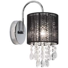 "Black Line Shade 12"" High Chrome and Crystal Wall Sconce"