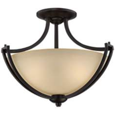 "Franklin Iron Works Bennington 18"" Wide Semi-Flush Light"