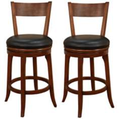 "American Heritage Autumn Set of 2 Black 30"" High Bar Stools"