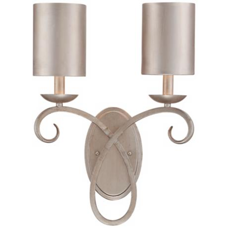 "Silver Leaf Metal Shade 18 1/4"" High Two-Light Wall Sconce"