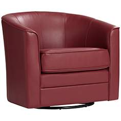 Keller Scarlet Bonded Leather Swivel Club Chair