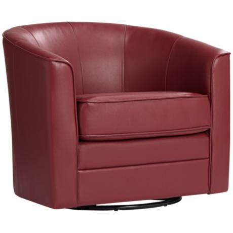 Keller Scarlet Bonded Leather Swivel Tub Chair