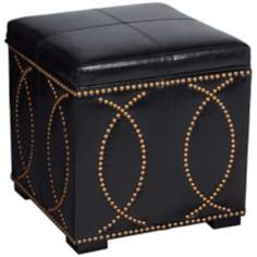 "Black Faux Leather 18"" Square Storage Ottoman"