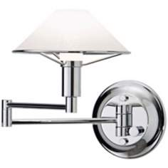 Holtkoetter Chrome with Satin White Swing Arm Wall Lamp