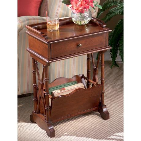 Plantation Cherry Wood Magazine Rack Martini Table