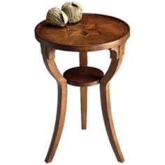 Olive Ash Burl Round Accent Table