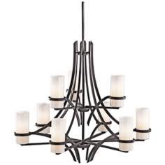Kichler Beckett Anvil Iron White Glass 9-Light Chandelier