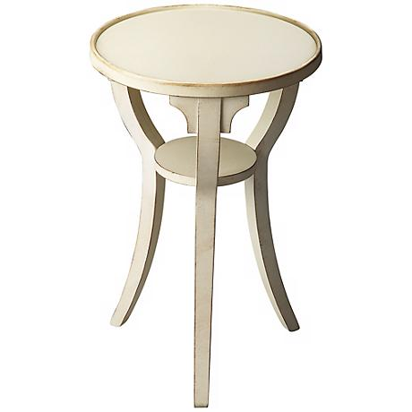 Cottage White Round Accent Table
