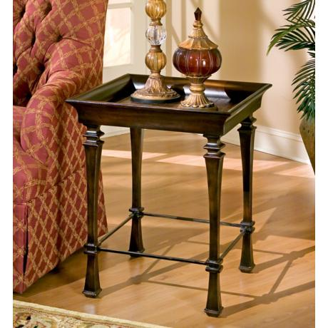 Designers Edge Leather Tray-Top End Table